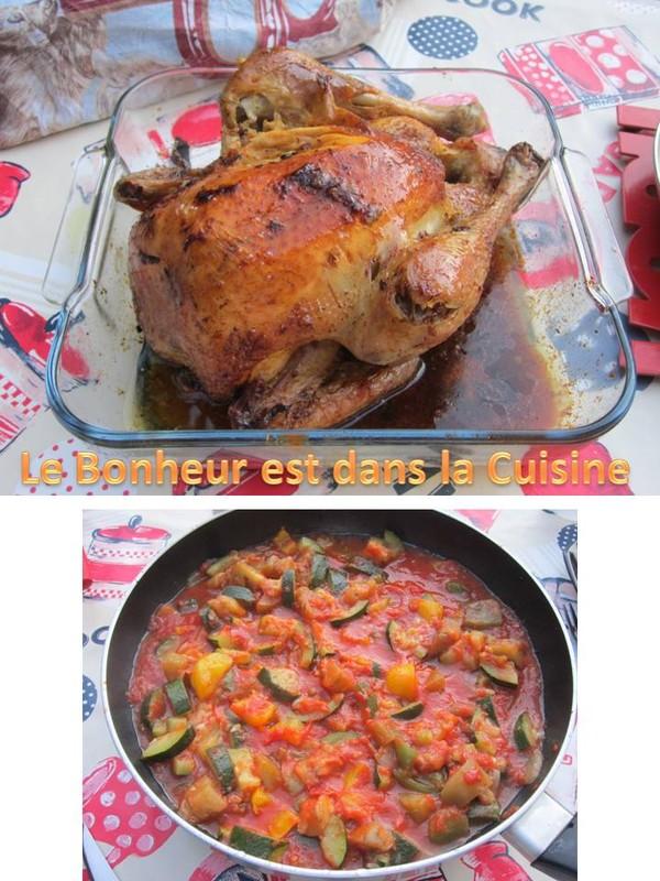 Poulet et sa ratatouille - Cuisiner un poulet roti ...